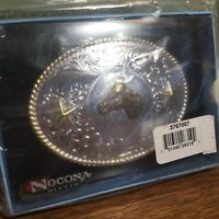 Belt Buckle Nocona Belt Co Silver & Gold Tones Horse Two Stars New Sealed in Box