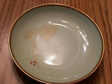 Vtg Aelteste Hutschenreuther Hohenberg Germany Green Candy Dish with Gold Trim