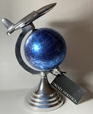 BLUE GLOBE With SILVER AIRPLANE Drexel Heritage Desk Sculpture