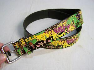 "34"" to 36"" Adjustable Waist Multi-Colored Graffiti Star and Hustle Belt"