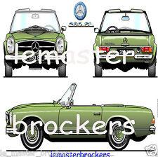 MERCEDES SL 280 PAGODE voiture de collection art déco poster affiche design