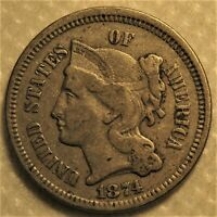 1874 Three Cent Piece with nearly full hair details!