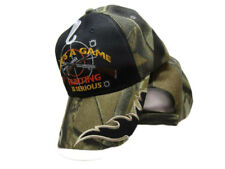 Life's A Game Hunting Is Serious Camouflage Black Deer Hunt Embroidered Cap Hat