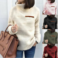Plus Size Women Winter Fluffy Fleece Sweater Warm Tops High Neck Pullover Jumper