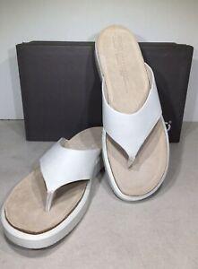 Ecco Corksphere Women's Size 11/EU 42 White Leather Flip Flop Sandals X6-1050
