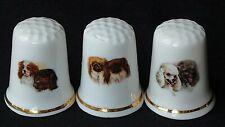 THREE DOG PUPPY SPANIEL POODLE ILLUSTRATED BRITAIN BONE CHINA SOUVENIR THIMBLES