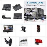HD 1080P Car DVR 3 Camera Lens Rearview 4'' Dash Cam Video Recorder Night Vision