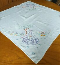 Vintage Hand Embroidered Linen Tablecloth - Small.
