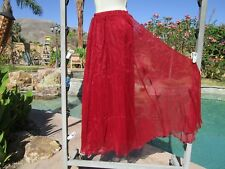 "NEW One Size chiffon full skirt wine 34"" long lined versatile 21-30"" waist"