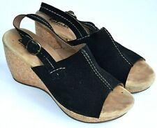 CLARKS Elements Black Suede Upper Wedge Heel Open Toe Sandals Womens 7.5