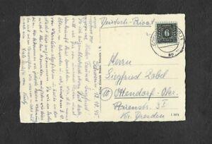 Pkt.(AK) Mecklenburg portog. mit EF 8 v. 12.10.1945 Schwerin na. Ottendorf Sach.