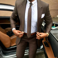 Men Dark Brown Slim Fit Suit Formal Groom Tuxedo Dinner Wedding Prom Suit Custom