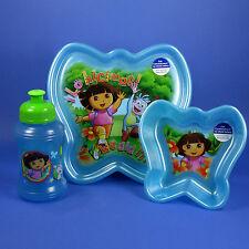 DORA THE EXPLORER PLATE BOWL SPORT BOTTLE ZAK KIDS LUNCH 3PC DINING SET BPA FREE
