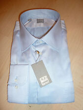 NEW $265 IKE BEHAR Mens Dress SHIRT 18 34 35 Blue Made in USA Cotton BC GOLD TkF