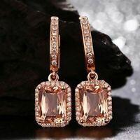 6Ct Emerald Attractive Cut Morganite Drop & Dangle Earrings 14K Rose Gold Finish