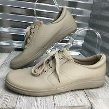 Grasshopper Women's Beige Walking Shoes Oxford Lace Up Comfort Shoe Size 9.5