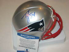 TY LAW Signed New England PATRIOTS Mini-helmet w/ Beckett COA