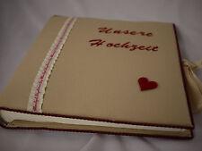 beigefarbenes Fotobuch Hochzeit, Fotoalbum, Jumbo, Stoff bezogen & bestickt