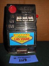 Vtg 3 Reel Las Vegas Slot Machine Bandit Mechanical Coin Piggy Bank Game Reno