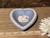 "Wedgwood Blue Jasperware Pegasus w/God Bellerophon Heart Pin Tray Dish 4 1/2"""
