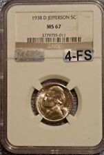 1938 D JEFFERSON NICKEL NGC MS67!!!! MAC CERTIFIED FOUR FULL STEPS AND SPOTLESS!
