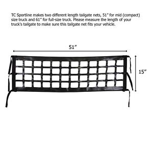 "Brand New Compact Mid Size Truck Pick-Up Tailgate Net 51"" x 15"""