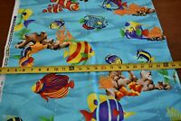 By 1/2 Yd, Bright, Colorful Tropical Fish on Blue Quilt Cotton, Cranston N2449