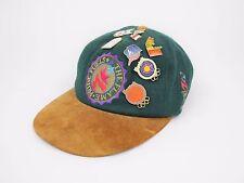 VINTAGE 1996 Atlanta Olympics Summer Olympics GREEN Wool & Leather Hat W/ 8 Pins