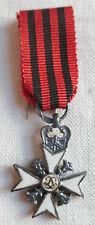 Miniature Médaille CROIX CHEVALIER MERITE CIVIQUE BELGIQUE ARGENT MEDAL ORDER