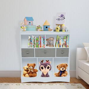 Kids Toy Storage Rack Playroom Cabinets Organizer Children Bookcase Shelf White
