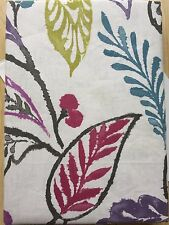 "90 x 90"" Floral Leaf Print 100% Cotton Green Purple Teal Lined Eyelet Curtains"