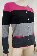 CLEMENTS RIBEIRO Black Pink Charcoal Grey Merino Wool Stripe Cardigan Top M UK12