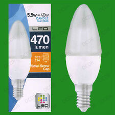 6x 5.5W LED Ultra Low Energy, Instant On, Pearl Candle Light Bulbs SES, E14 Lamp