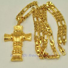 """REAL EXALTED 18K YELLOW GOLD GP 2.4"""" CROSS PENDANT 23.6""""6mm FIGARO NECKLACE F11"""