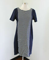 J Crew Striped Knit Shift Dress Size 6 Navy Blue Cream Short Sleeve A3446