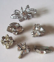 Vintage lovely set of mid century rhinestone scatter pins jewelry brooches!!