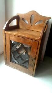 Rare Antique Imperial Original Russian Wooden Shelf Wall Cabinet Cupboard Glass