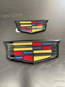 2015-2020 Escalade Bowties -Grille & Liftgate Emblems Black Edge Gloss