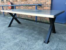 NEW INDUSTRIAL RECYCLED VINTAGE RUSTIC ZINC DINING TABLE - 2.5 x 1M