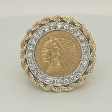1908 GOLD $2.5 Indian Head Coin In A 14K Gold And Diamond Size 9.25 Ring