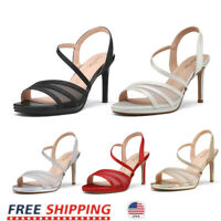 Women's Ankle Strappy Open Toe High Stilettos Heel Sandals Pump Dress Shoes