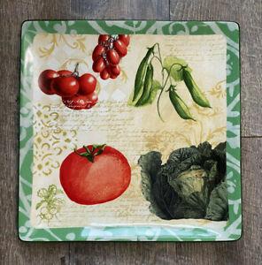 "1 Oneida Fresca Square Serving Plate Platter 13"" x 13"" VEGETABLE Susan Zulauf"