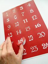Red Advent Calendar Number Stickers ~ Countdown to Christmas Craft Gift Labels