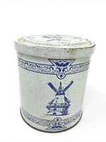 Tin Box Blue Dutch Windmill Design Cookies Valleybrook Farms 5.25 Canister