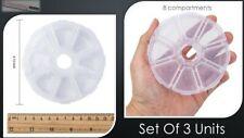 3x Round Plastic 8 Compartment Jewellery Storage/Container Craft/Organizer UK