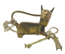 Small Cat Shape Old Antique Style Handmade Brass Lock with Unique Key Home Decor