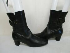 Ecco Black Leather Zip Ankle Boots Womens Size 41 EUR Style 443746