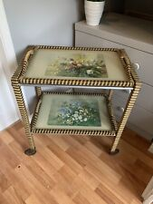 Vintage Original Wicker Floral Tea Trolley Chintz Ditsy 2 Removable Trays