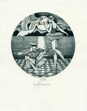 Paolo Rovegno, Italy, Limited Edition Ex libris Etching Leda Swan, Violin Music