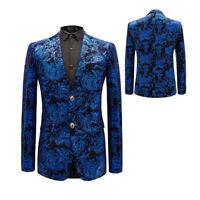 Mens Lapel Suits Printed Floral Slim Blazer Jacket Coat Nightclub Wedding Dress